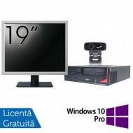 Pachet Calculator Fujitsu E410, Intel Core i3-3220 3.30GHz, 4GB DDR3, 500GB SATA + Monitor 19 Inch + Webcam + Tastatura si Mouse + Windows 10 Pro